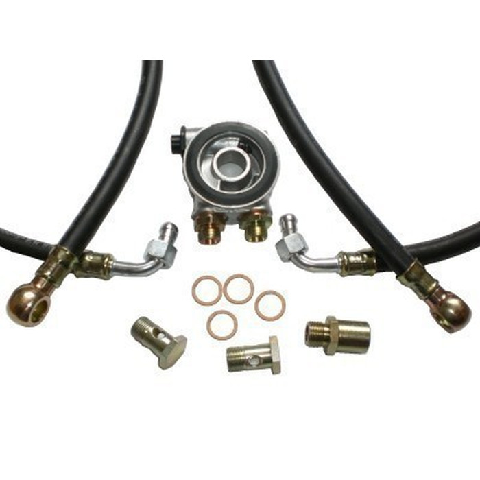oil cooler installation kit - standard hoses (black) - with thermostat