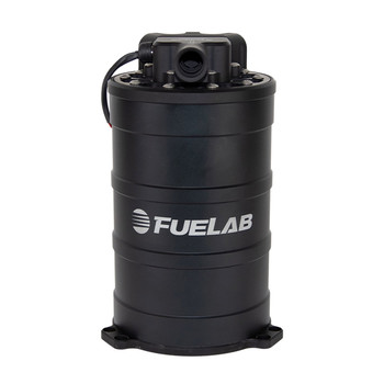 Fuel surge tank system with speed controllable, twin...